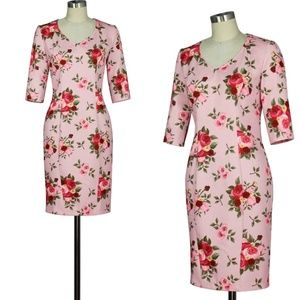 Dresses & Skirts - Plus Size Pin Up Clothing Spring Rose Pencil Dress